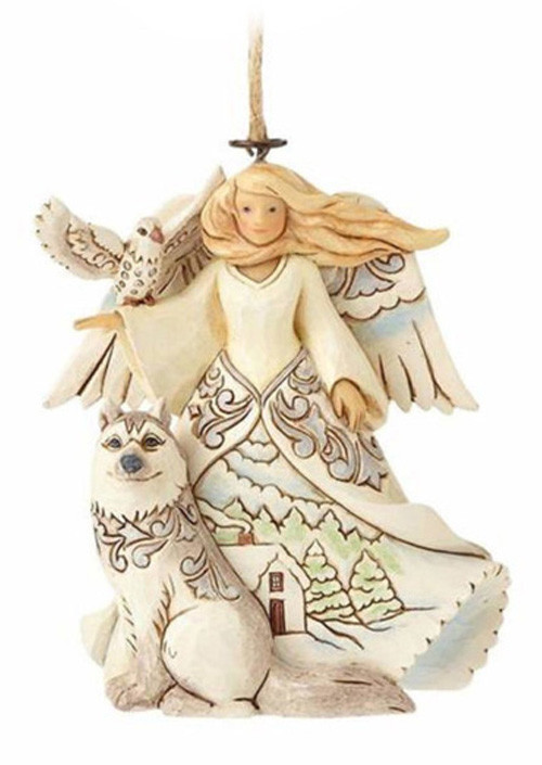 Figura White Woodland Angel Hanging Ornament Figure