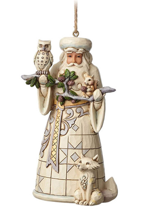 Figura White Woodland Santa Hanging Ornament Figure